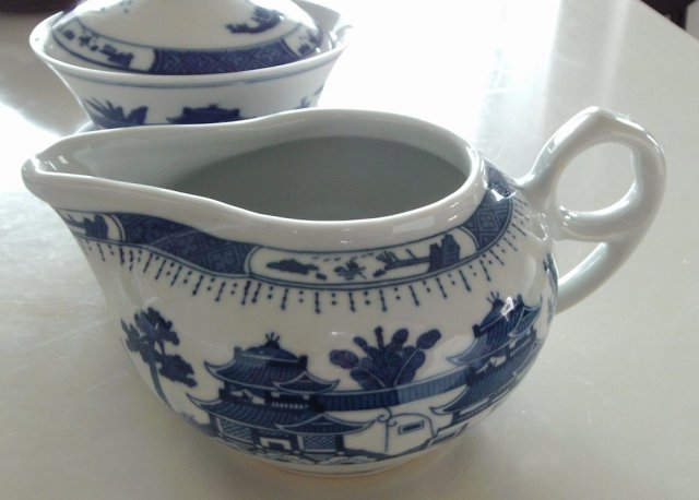 Blue Willow pattern tea pitcher