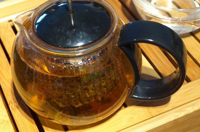 Mint tea infusing in a Bodum tea press