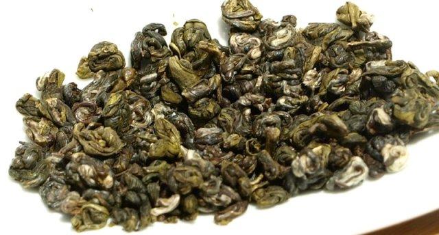 Dry Biluochun tea leaves