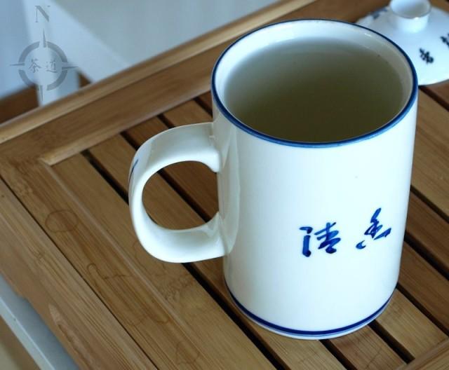 Chinese lidded tea mug - finished tea