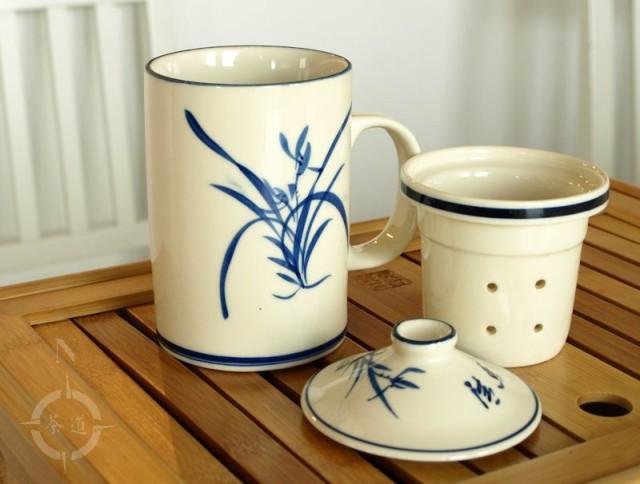 Chinese lidded tea mug - standard setup