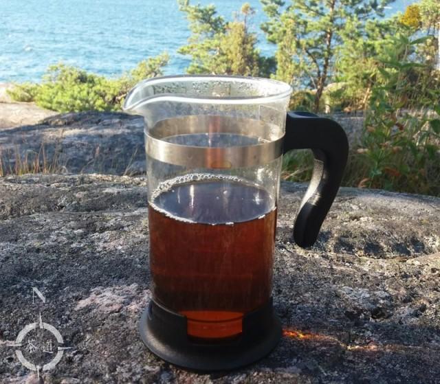 Nannuo tea bag brewed in press