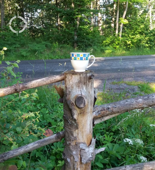 teacup on a countryside fence