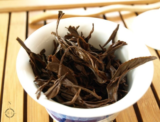 Shan Lin Shi Hong Cha - used leaf in gaiwan