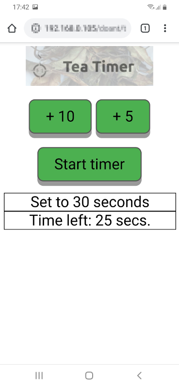 DOANT tea timer running